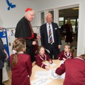Cardinal with pupils working